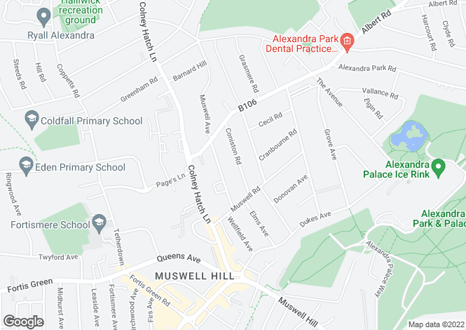 Map for Coniston Road, Muswell Hill