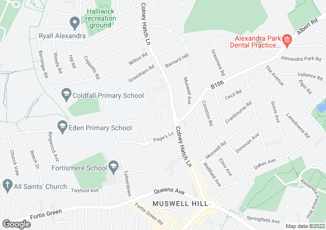 Map for Barrington Court, Colney Hatch Lane, Muswell Hill, N10