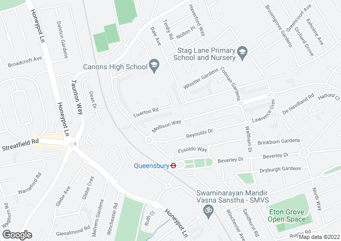 Map for Mollison Way, EDGWARE, Middlesex, UK