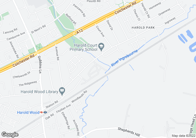 Map for Unit 21A, Bates Industrial Estate, Church Road, Harold Wood, Romford, Essex, RM3 0JA