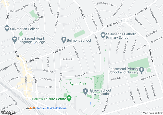 Map for Talbot Road, Harrow Weald.  HA3 7QE