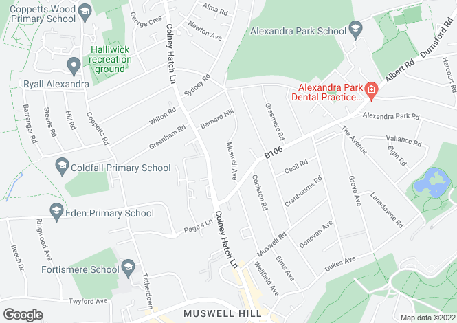 Map for Muswell Avenue, Muswell Hill