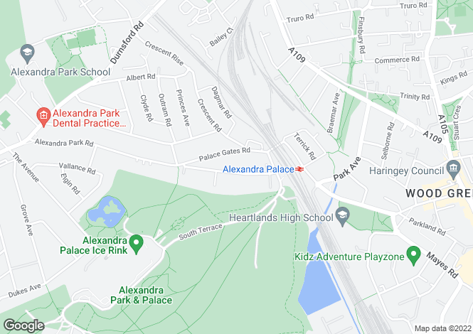 Map for Alexandra Park Road, Alexandra Park