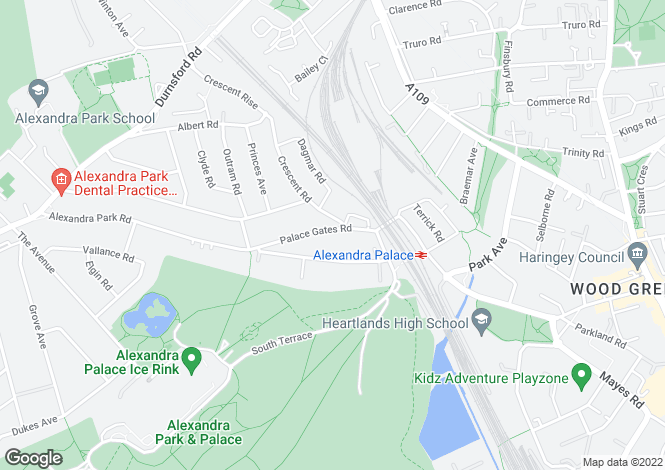 Map for Palace Gates Road, Alexandra Park, N22