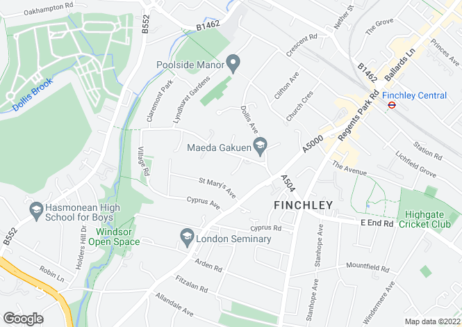 Map for Hendon Avenue, Finchley