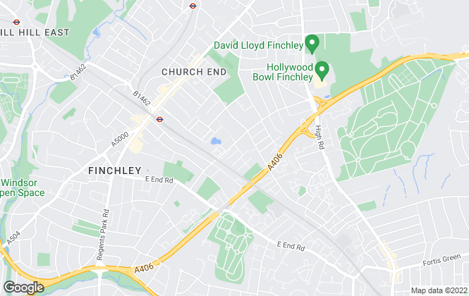 Map for Squires Estates, Finchley