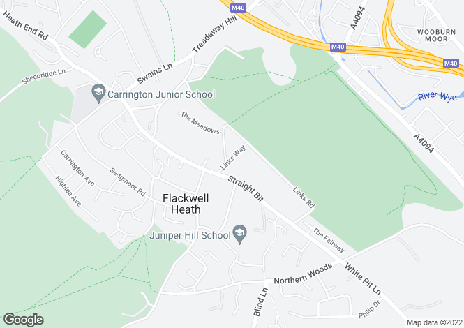 Map for Links Way, Flackwell Heath, HP10