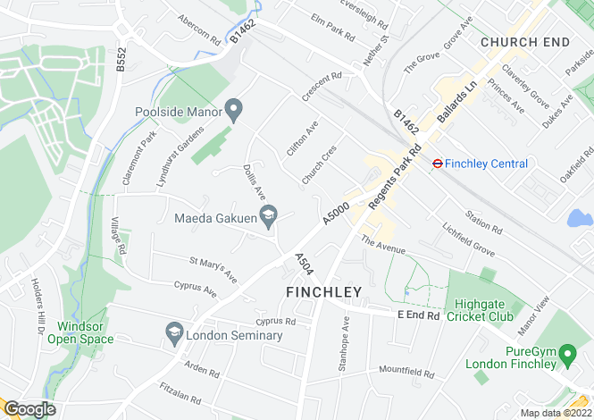Map for The Beeches, Rathgar Close, Finchley