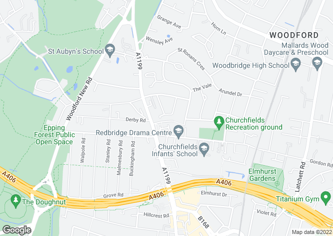 Map for St. Albans Crescent, Woodford Green
