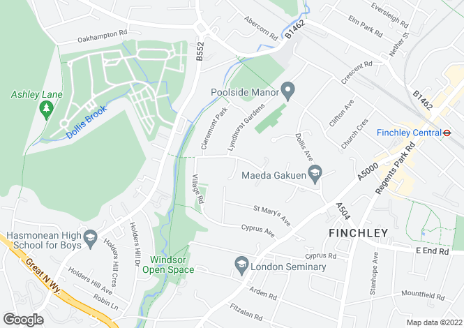Map for Hendon Avenue, Finchley Central