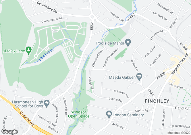 Map for HENDON AVENUE FINCHLEY N3