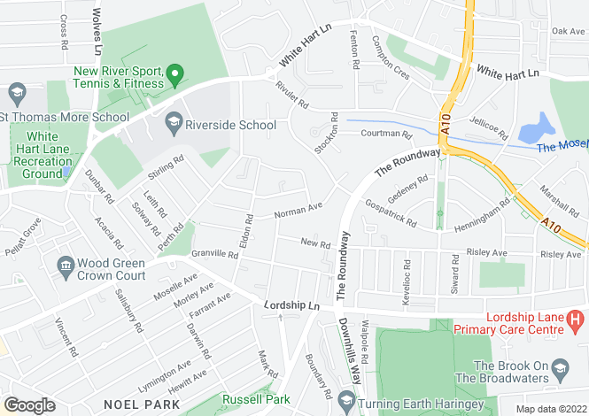 Map for Norman Avenue, Woodgreen