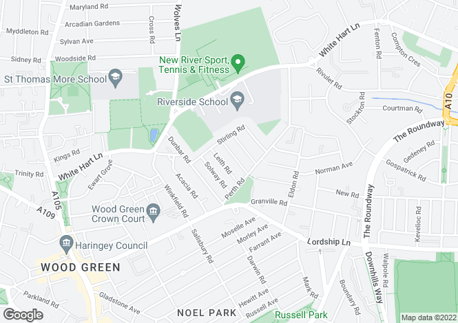 Map for Berwick Road, Wood Green, N22 5QB