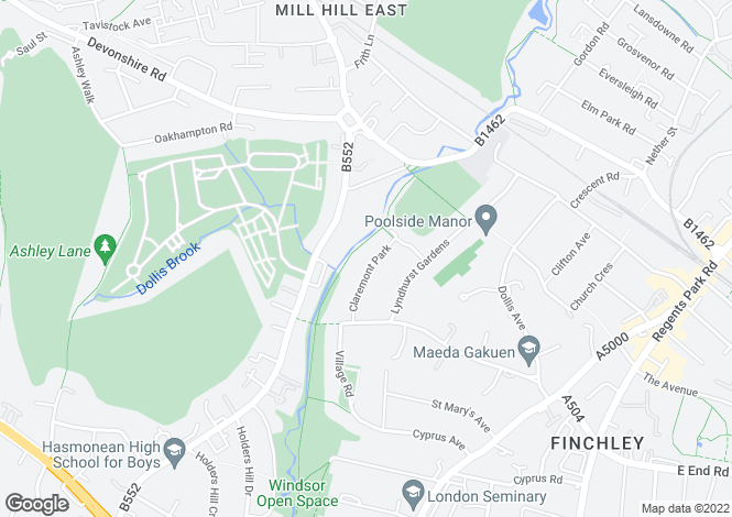 Map for Claremont Park Finchley N3