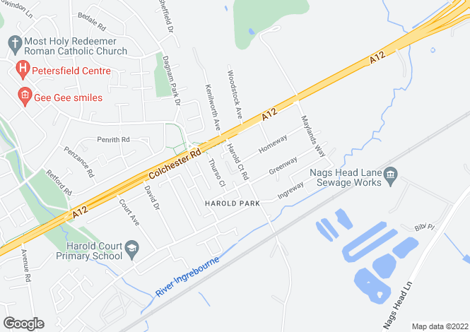 Map for Harold Court Road, ROMFORD, RM3 0YU