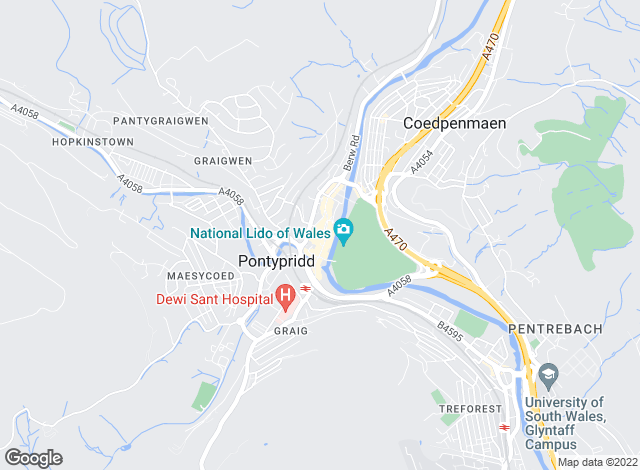 Map for Hoskins Johnson, Pontypridd
