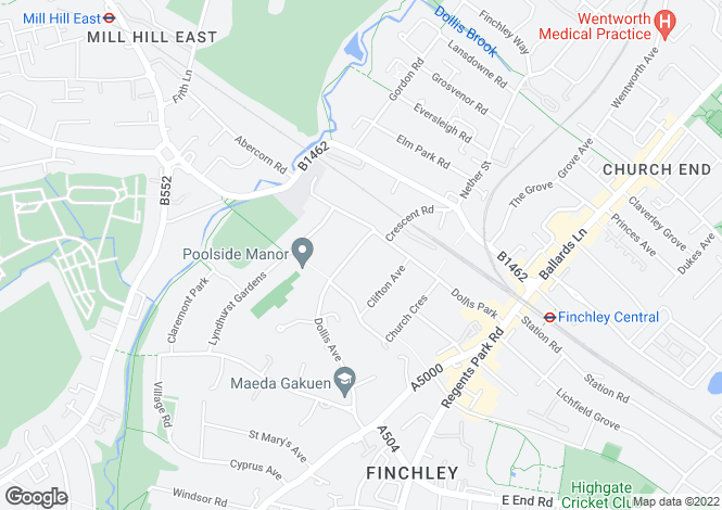 Map for Dollis Avenue Finchley N3
