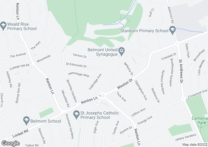 Map for Felbridge Avenue, Stanmore, Middx.  HA7 2BJ