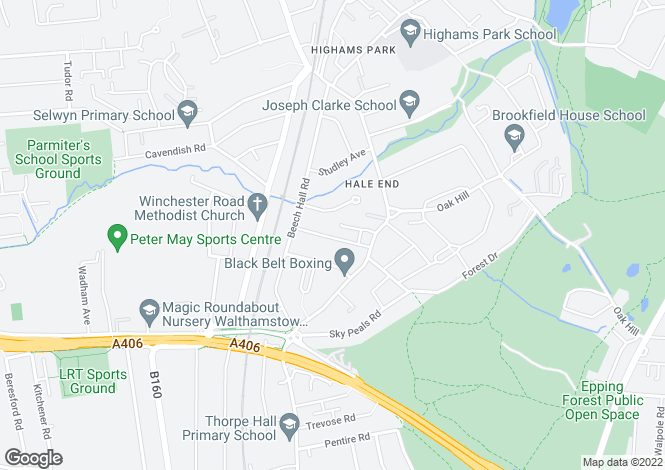 Map for Malvern Avenue, Highams Park