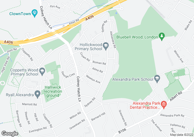 Map for Alma Road, Muswell Hill