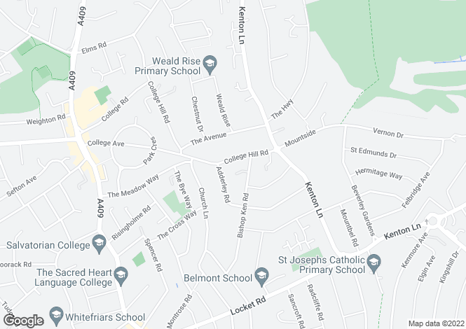 Map for College Hill Road,  Harrow Weald