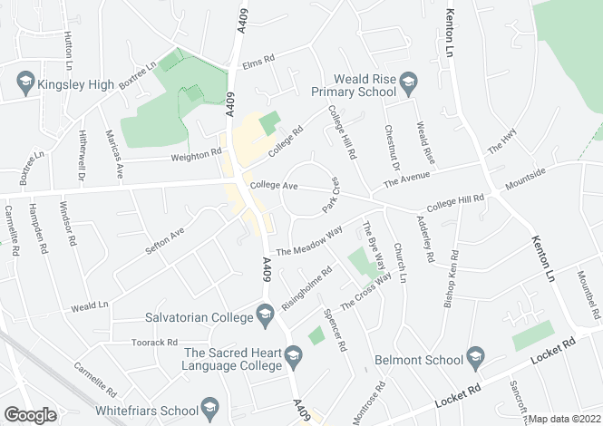 Map for Park Crescent, HARROW WEALD