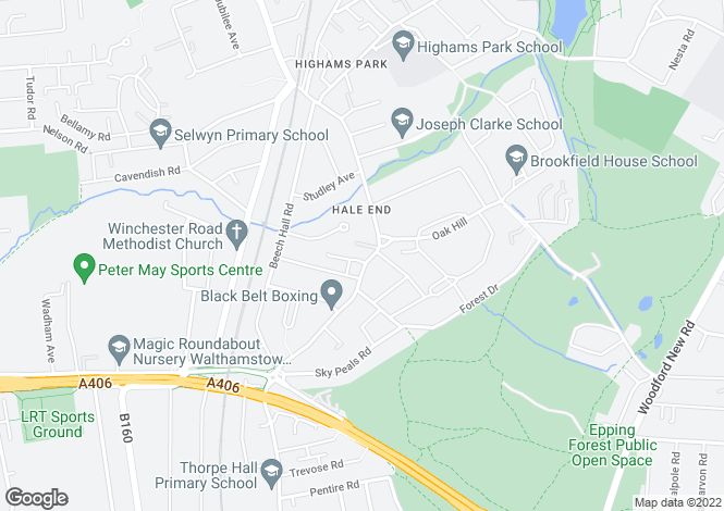 Map for Hale End Road, Woodford Green IG8