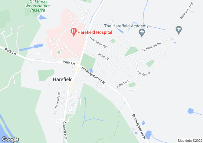 Map for Northwood Road (For Sale), Harefield, Uxbridge, Middlesex