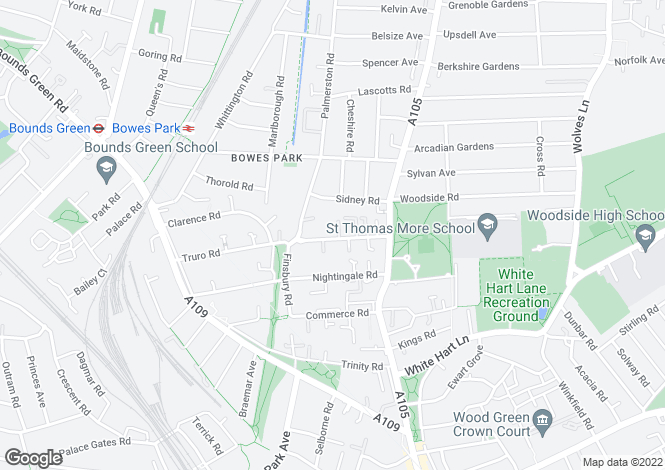 Map for Truro Road, Wood Green, N22