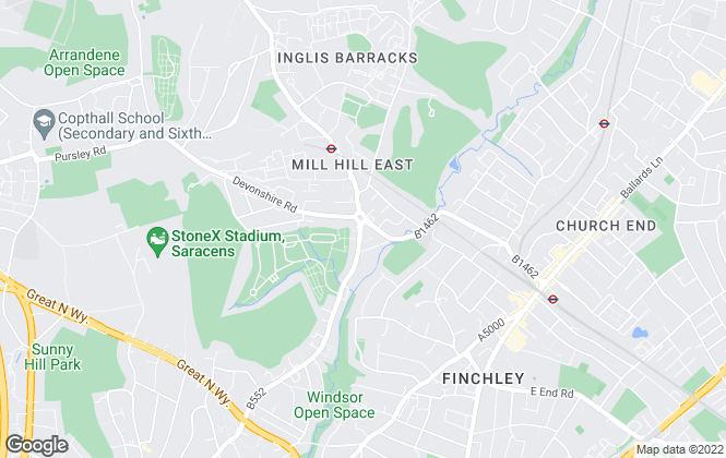 Map for Squires Estates, Mill Hill