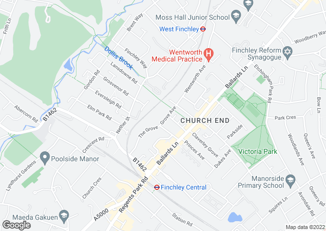 Map for Grove Avenue, Finchley Central, N3