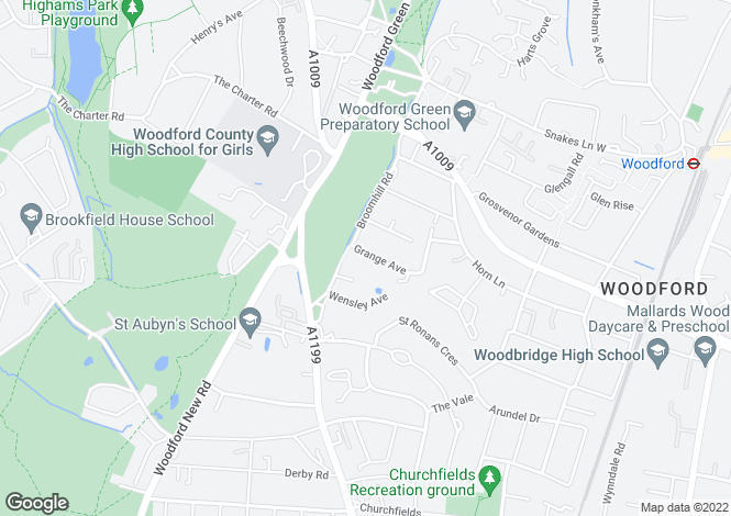 Map for Grange Avenue, Woodford Green