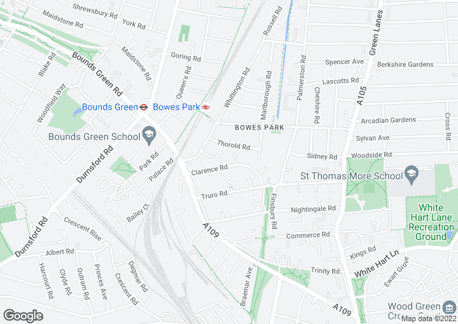 Map for Clarence Road, Bowes Park, N22