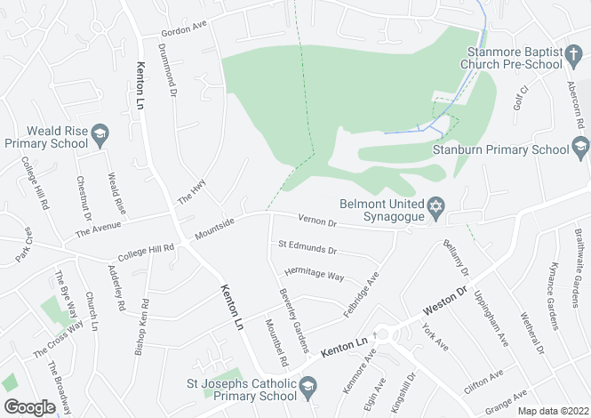 Map for Vernon Drive Stanmore