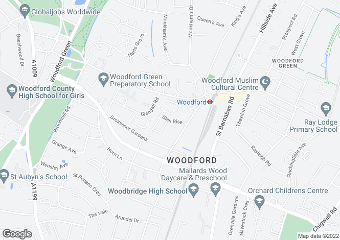 Map for Glen Rise, Woodford Green