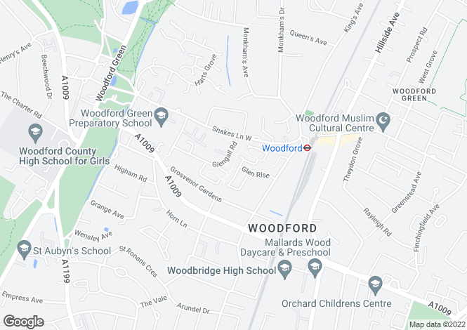 Map for Ford End, Woodford, Woodford Green, Essex, IG8