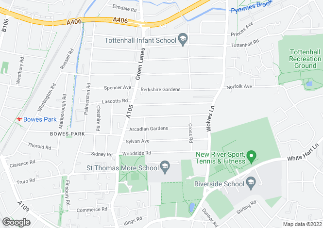 Map for Maryland Road, Wood Green