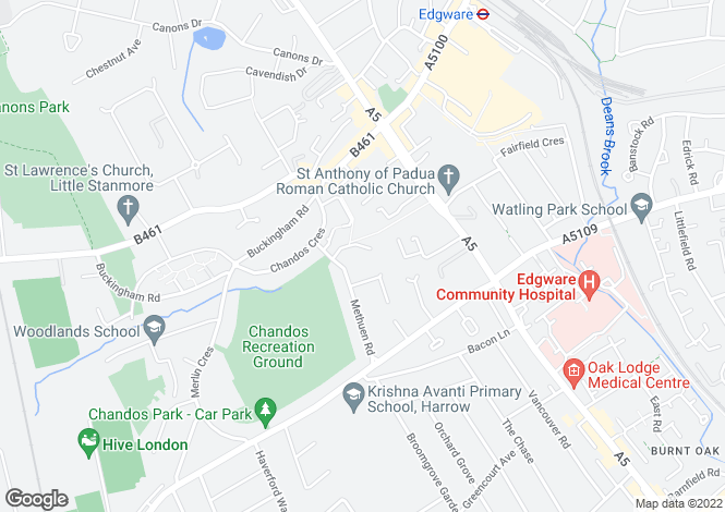Map for Methuen Close, Edgware, Edgware, Middlesex, HA8