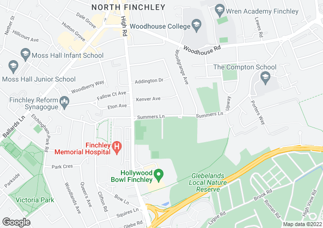 Map for Summers Lane, Finchley, London