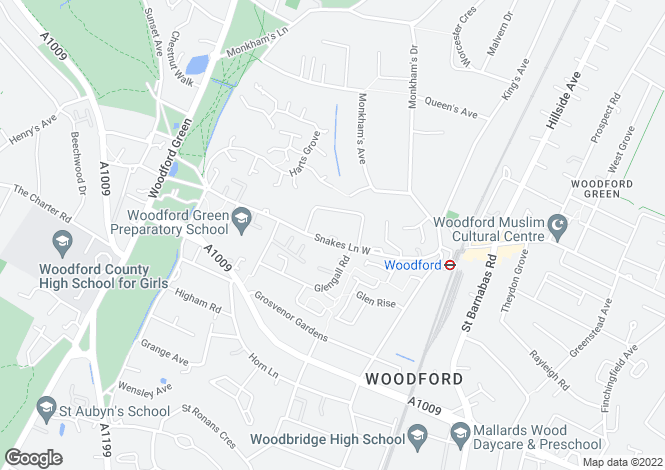 Map for Snakes Lane West, Woodford Green