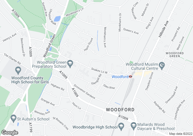 Map for Snakes Lane West, Woodford Green, IG8