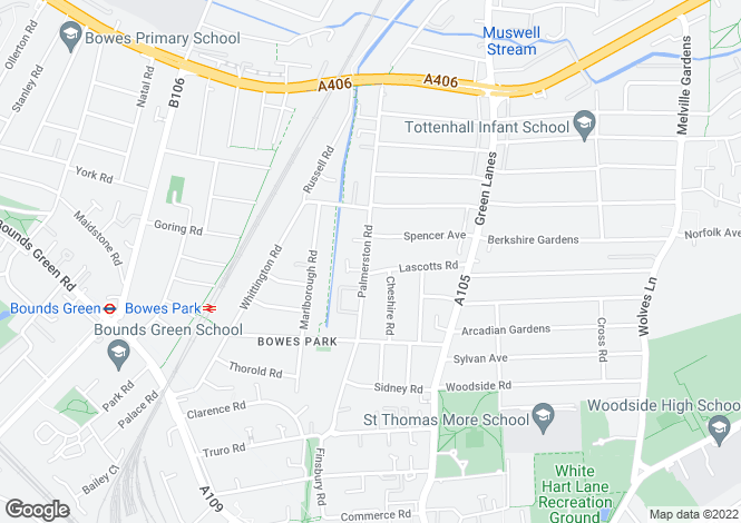 Map for Bowes Park N22