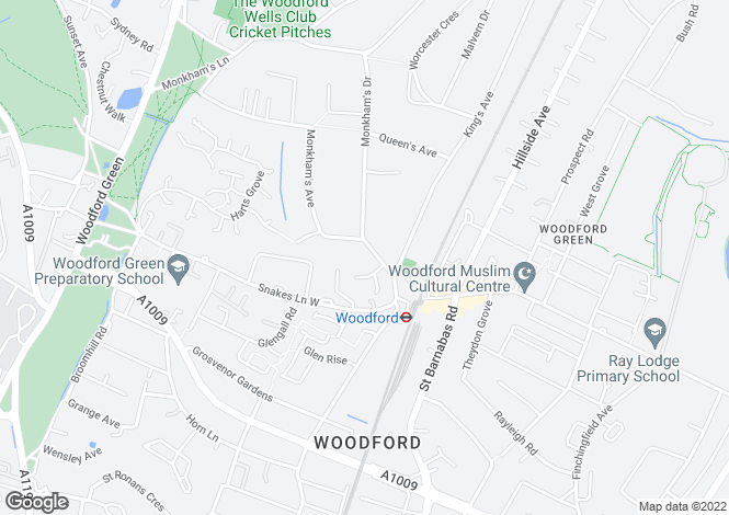 Map for Monkhams Avenue, Woodford Green, IG8 0HB