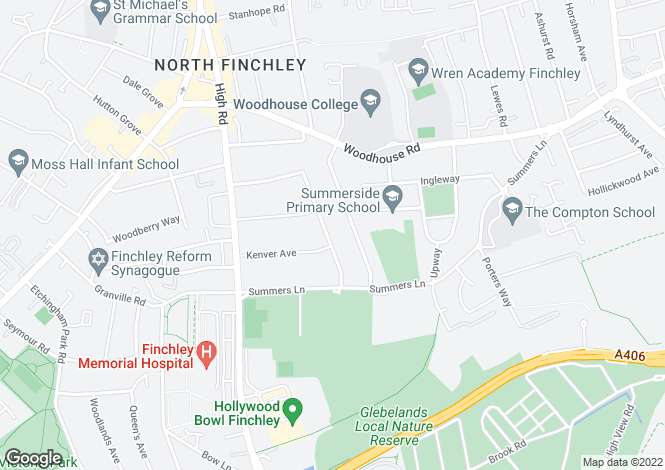 Map for Sandringham Gardens, North Finchley