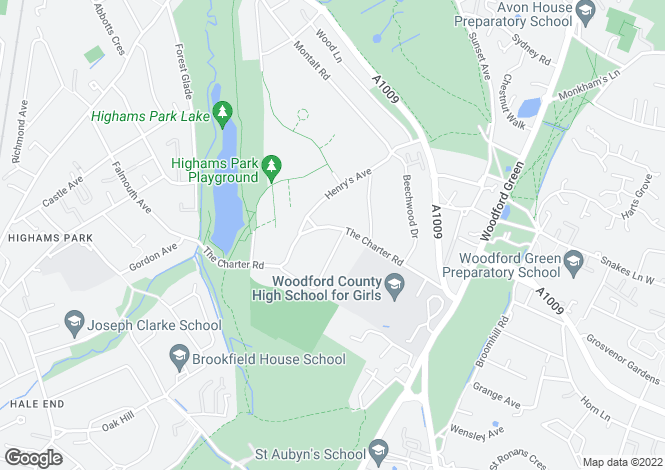 Map for The Charter Road, Woodford Green