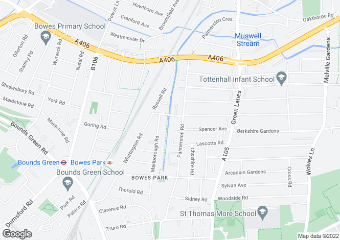 Map for Whittington Road, Bounds Green