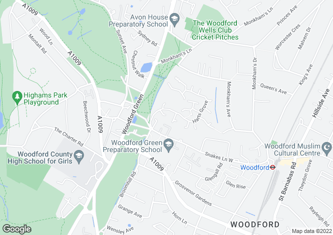 Map for Woodford Green, Essex