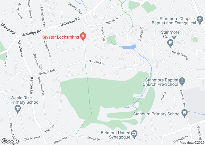 Map for Sunningdale Close, Stanmore, Middlesex