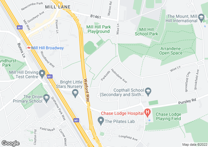 Map for Parkside, Mill Hill, London, NW7 2LH, United Kingdom