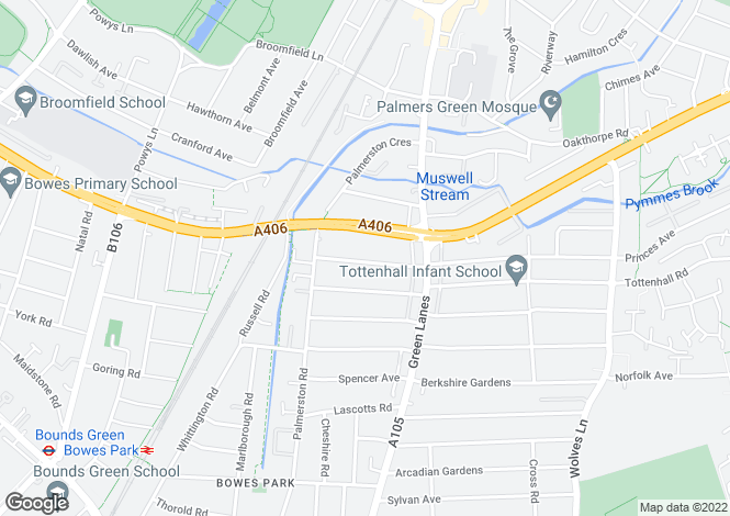 Map for Sidney Avenue, Palmers Green